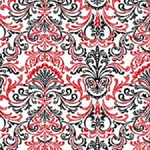 Bellisima Damask Print Red, White & Black