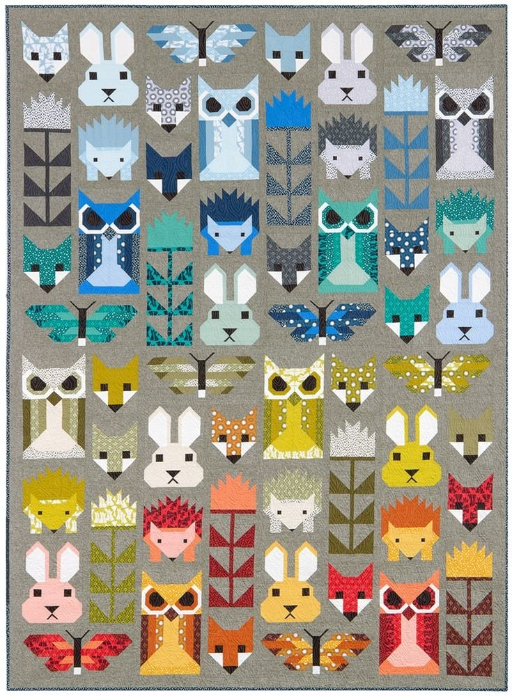 Elizabeth Hartman Fancy Forest Quilt Kit 67 x 91