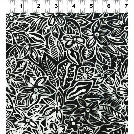 Botanica Batik White Foliage on Black