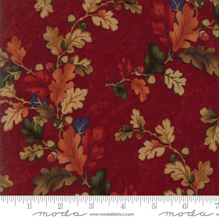 Oak Haven Oak Leaves on Red