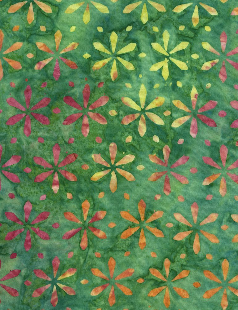 Tonga Batik Flower - Green Applie