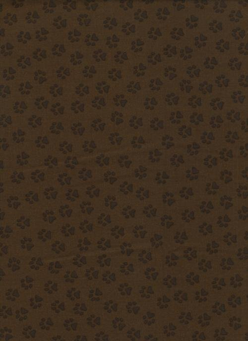 Wolf Song Allover Paw Prints - Brown Tonal