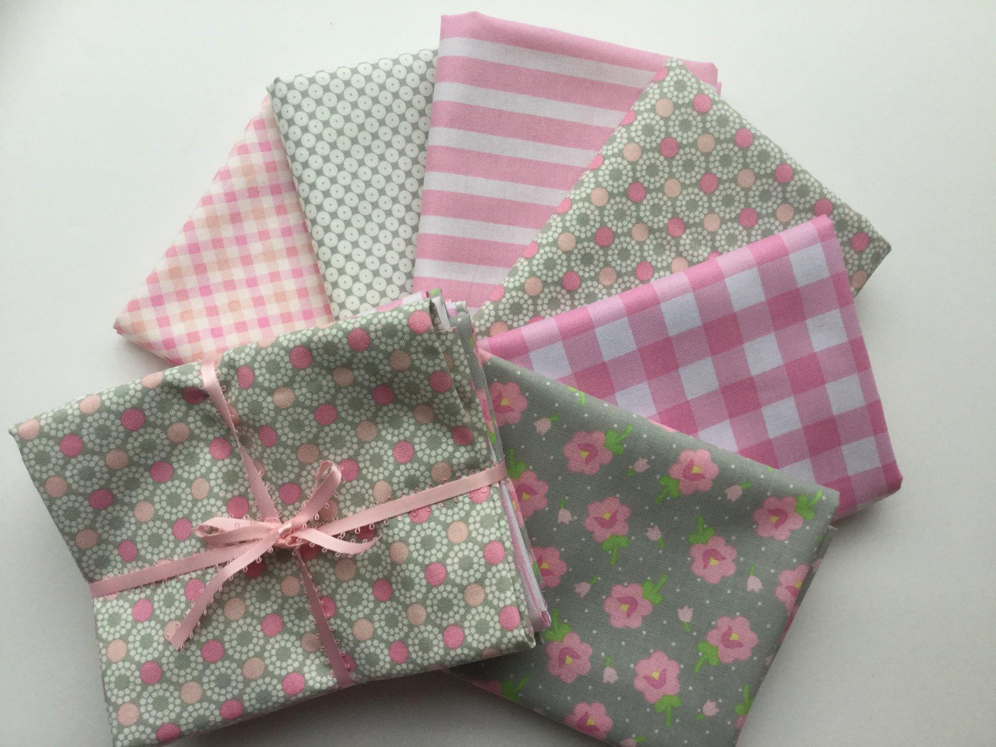 Fat Quarter Bundle - Pink & Grey - 6 fat quarters