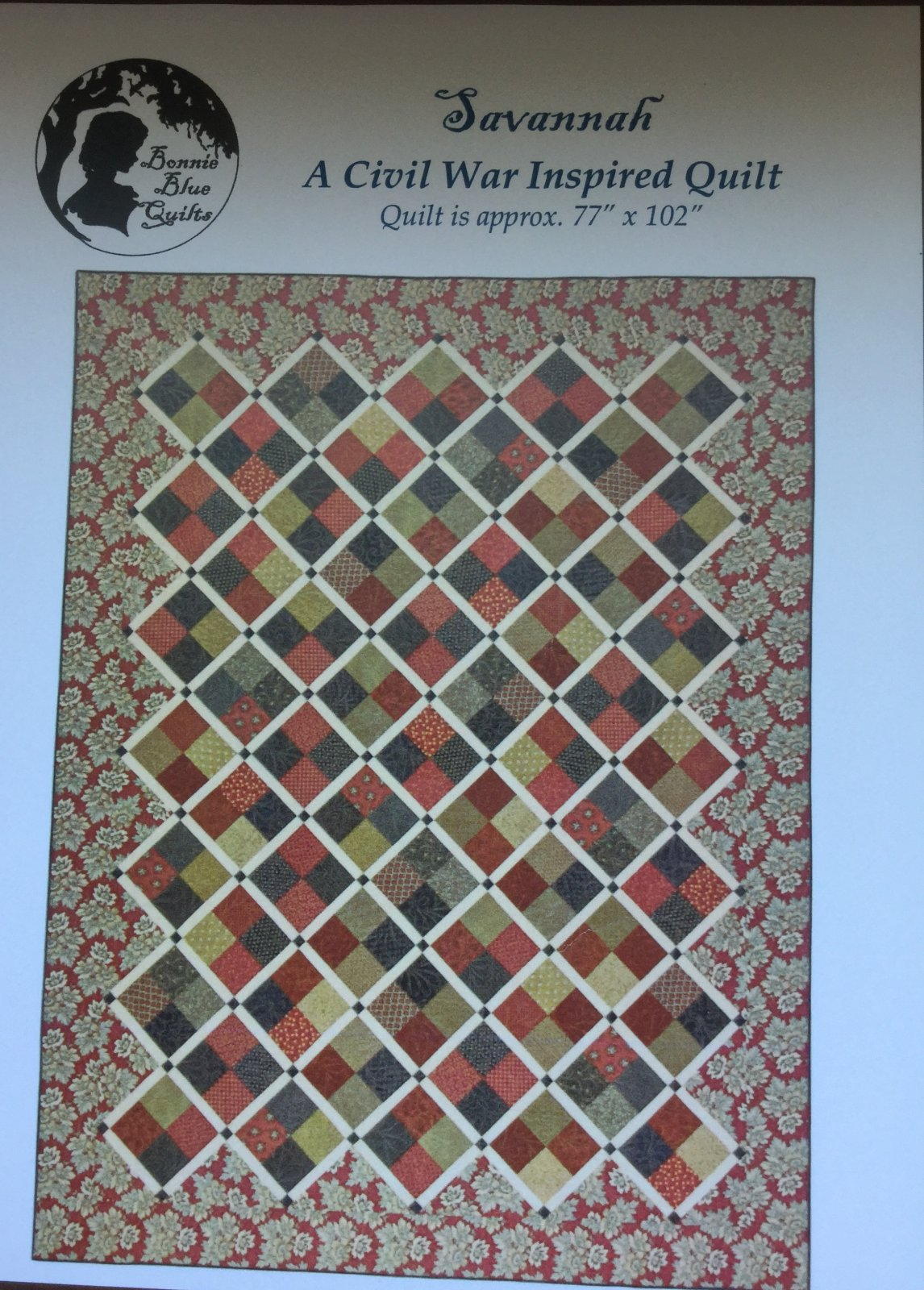 Savannah Quilt Pattern - Red Crinoline Quilts. -  77 X 102