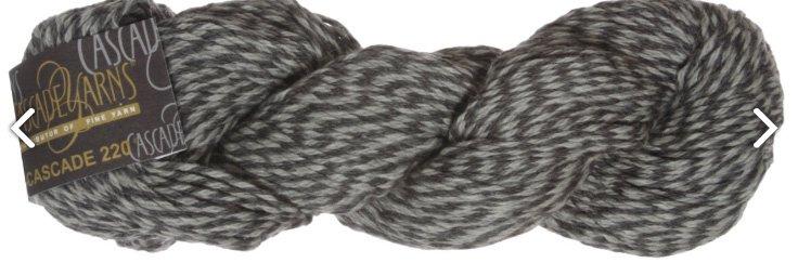 220 Yarn by Cascade Yarns Color Black/Gray 9402