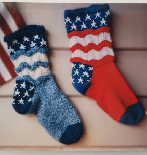 4th of July Socks Knitting Pattern by Sylvia Turkington