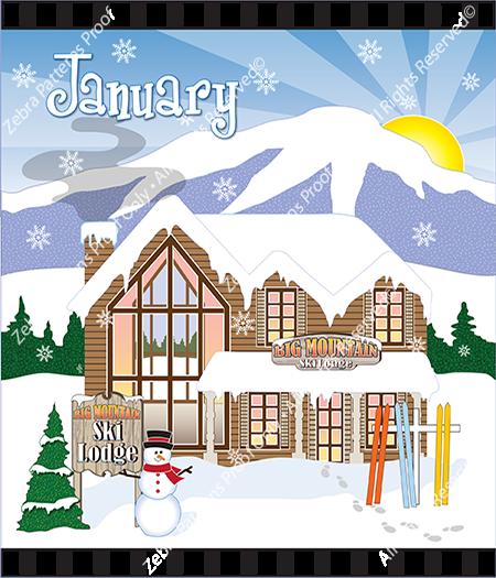 January Holiday House Fabric Panel by Zebra Patterns