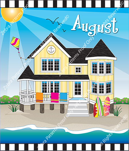 August Holiday House Fabric Panel by Zebra Patterns