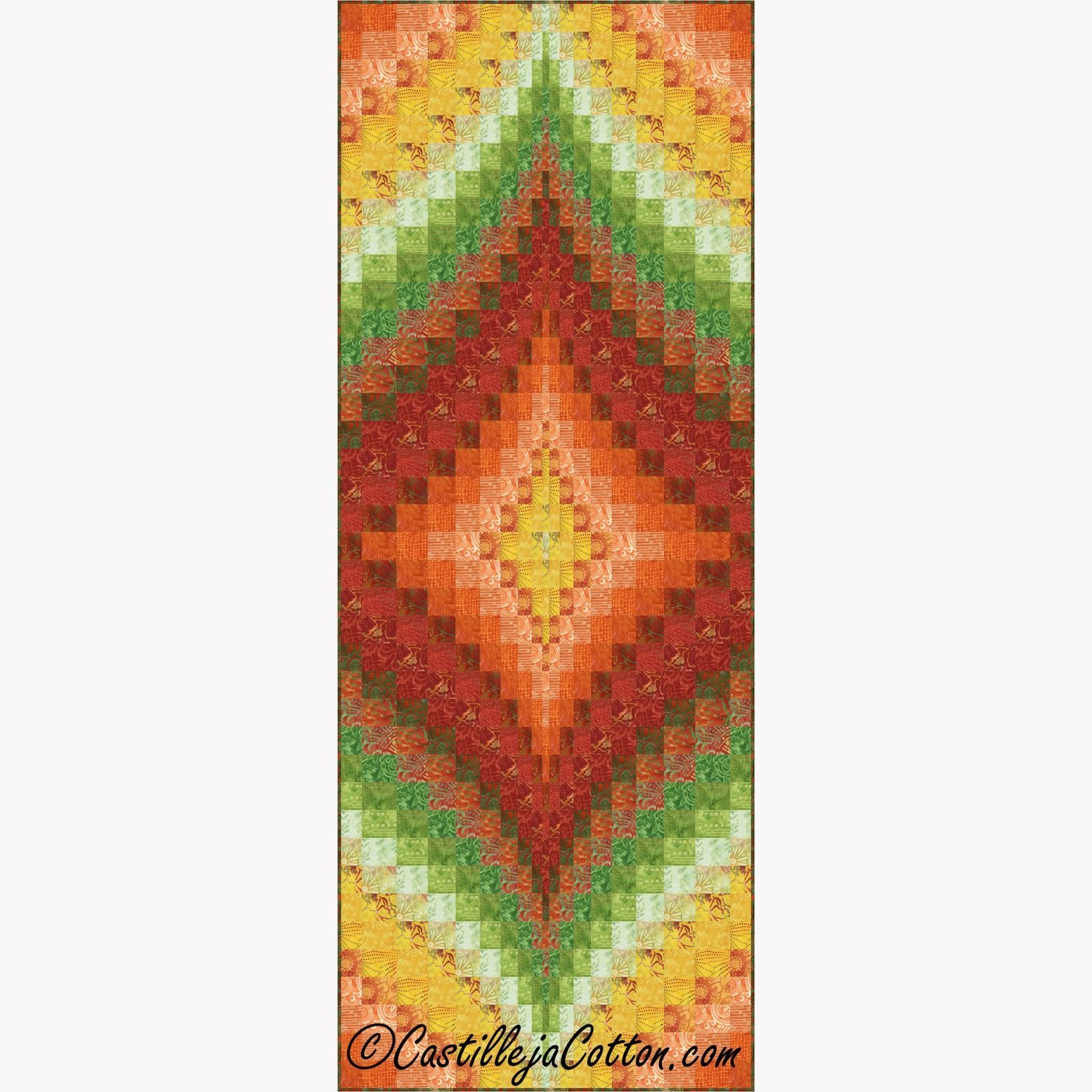 Fire Within - Sunburst Tablerunner/Wall Quilt EPattern by Castilleja Cotton