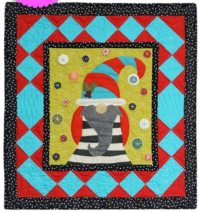 Sven the Gnome December Block from the Gnomio Quilt EPattern by Charisma Horton