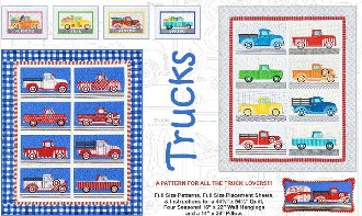 Trucks Pillow Wallhanging and Quilt Pattern by Amy Bradley Designs