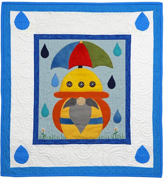 Anlaf the Gnome April Block from the Gnomio Quilt EPattern by Charisma Horton