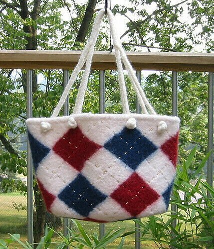 Worsted Knitted Felted Argyle Bag Pattern P556 by Plymouth Yarns