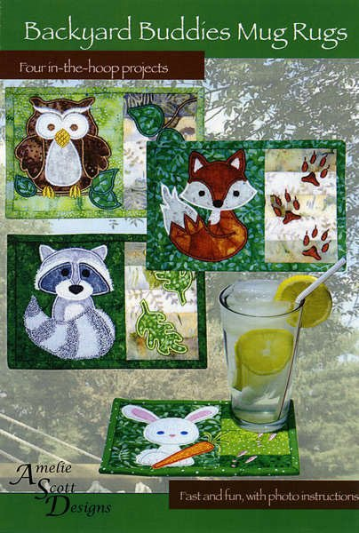 Backyard Buddies Mug Rugs Pattern by Amelie Scott Designs