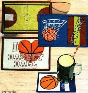 Basketball Mug Rug Pattern by Amelie Scott Designs