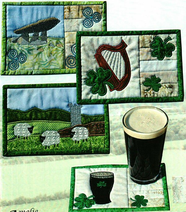 Irish Mug Rugs Pattern and Embroidery Disk by Amelie Scott Designss
