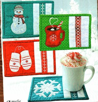 Winter Mug Rug Pattern by Amelie Scott Designs