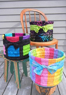 Tubular Baskets Pattern  in 3 Different Styles by Aunties Two