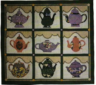 Teapot Collection Wallhanging Pattern by Betty Alderman Designs