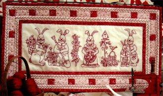 Bunny Bunch Redwork Embroidery Pattern by Bird Brain Designs