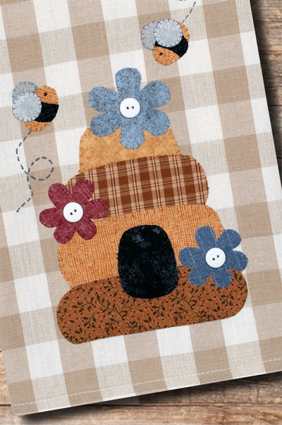 Beehive Applique Tea Towel Patternlet by The Wooden Bear