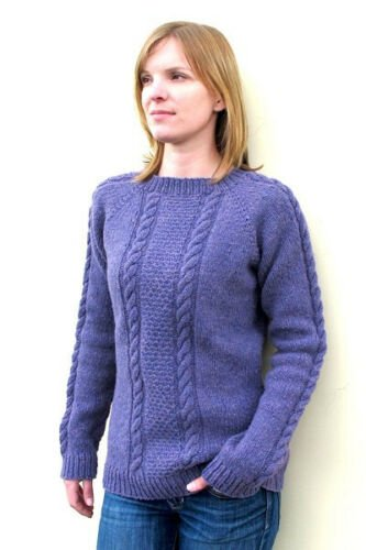 Beginner Cable Pullover for Women Knitting Pattern 1305 by Knitting Pure and Simple