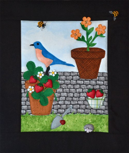 Bird Bees & Strawberries Button Quilt Pattern by Mouse Blankets