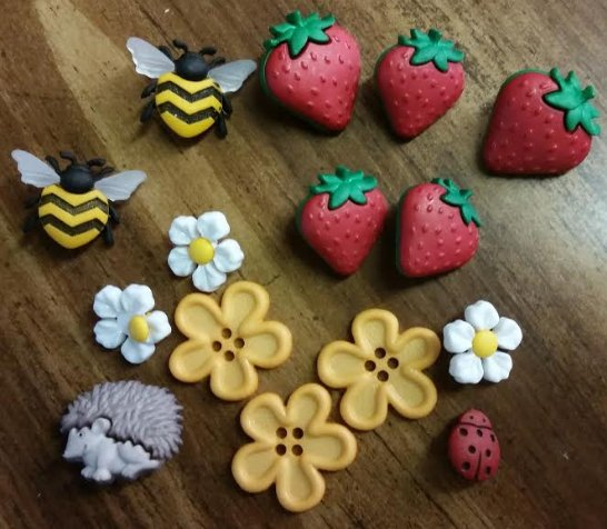 Bird Bees and Strawberries Buttons by Dress It Up