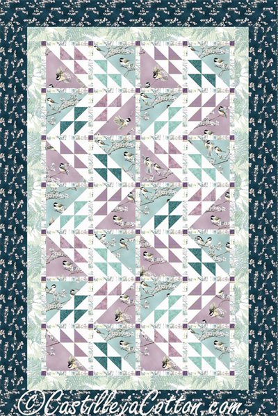 Birds in the Cherry Blossoms Pattern by Castilleja Cotton