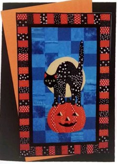 Izzie Black Cat and Pumpkin Wallhanging or Door Hanging Pattern by BJ Designs