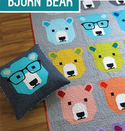 Bjorn Bear Quilt and Pillow Pattern by Elizabeth Hartman