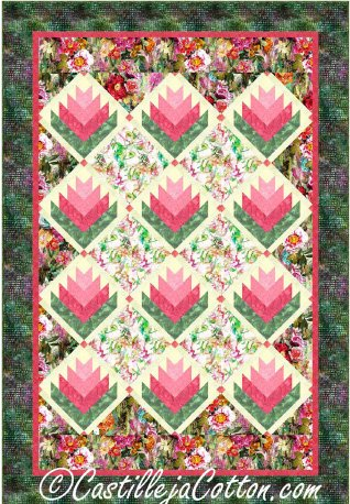 Blooming Log Cabins Quilt Epattern by Castilleja Cotton