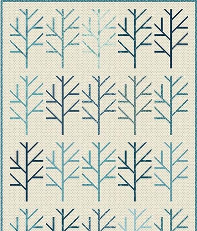 Blue Birch Tree Quilt Pattern by Laundry Basket Quilts