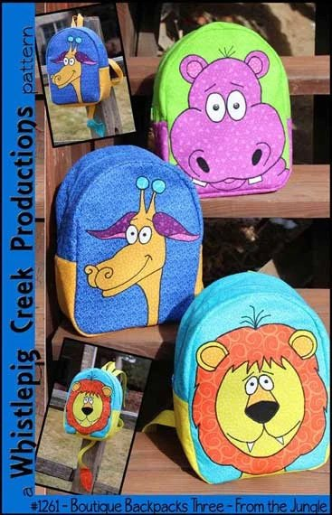 Boutique Backpacks 3 - From the Jungle Backpack Patterns by Whistlepig Creek Productions