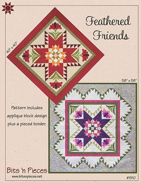 Feathered Friends Feathered Star Wall Quilt Pattern in 2 Sizes by Bits 'n Pieces by Bits 'n Pieces
