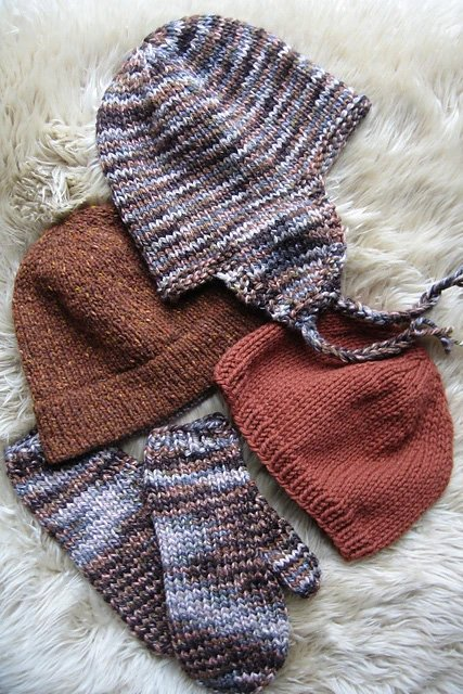 Bulky Hat and Mitten Set 297 by Knitting Pure & Simple