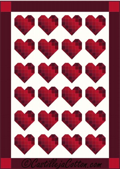 A Bundle of Hearts Quilt Epattern by Castilleja Cotton