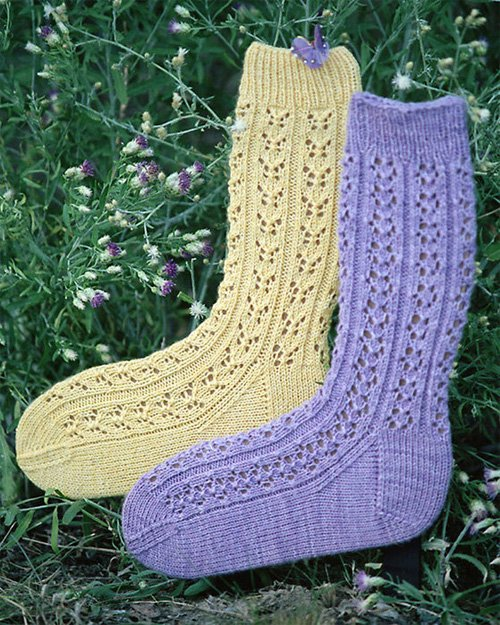 Butterflies & Blossoms Knitted Socks Pattern by Evelyn Clark
