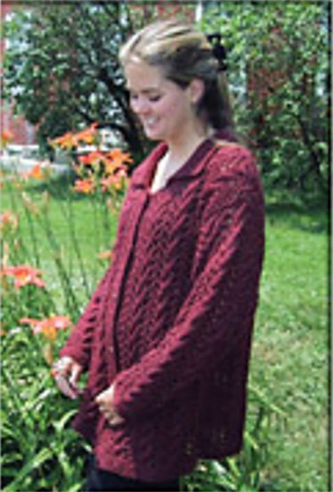 Cable & Lace Cardigan Knitted Pattern by Harrisville Designs