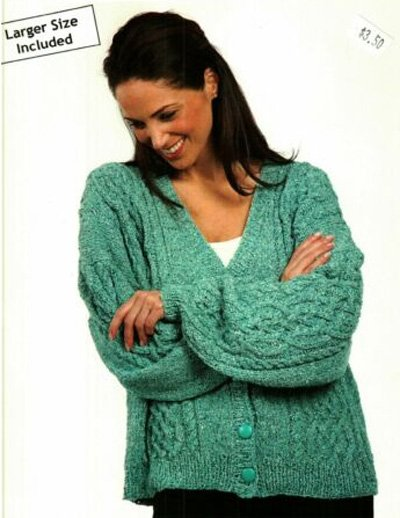 Cabled Cardigan Knitting Pattern  #1101 by Plymouth Yarn