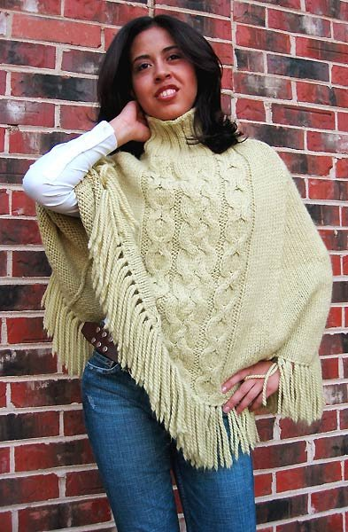 Cabled Chunky Alpaca Poncho Pattern by Misti Alpaca International
