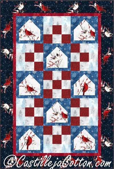 Cardinal Bird Feeders Quilt EPattern by Castilleja Cotton
