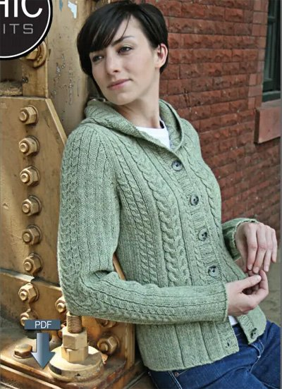 Cassidy Cabled Hoodie Cardigan Knitting Pattern by Chic Knits