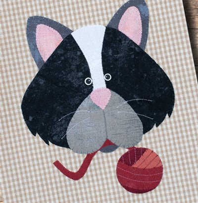 Cat and Yarn Tea Towel Applique Patternlets by The Wooden Bear