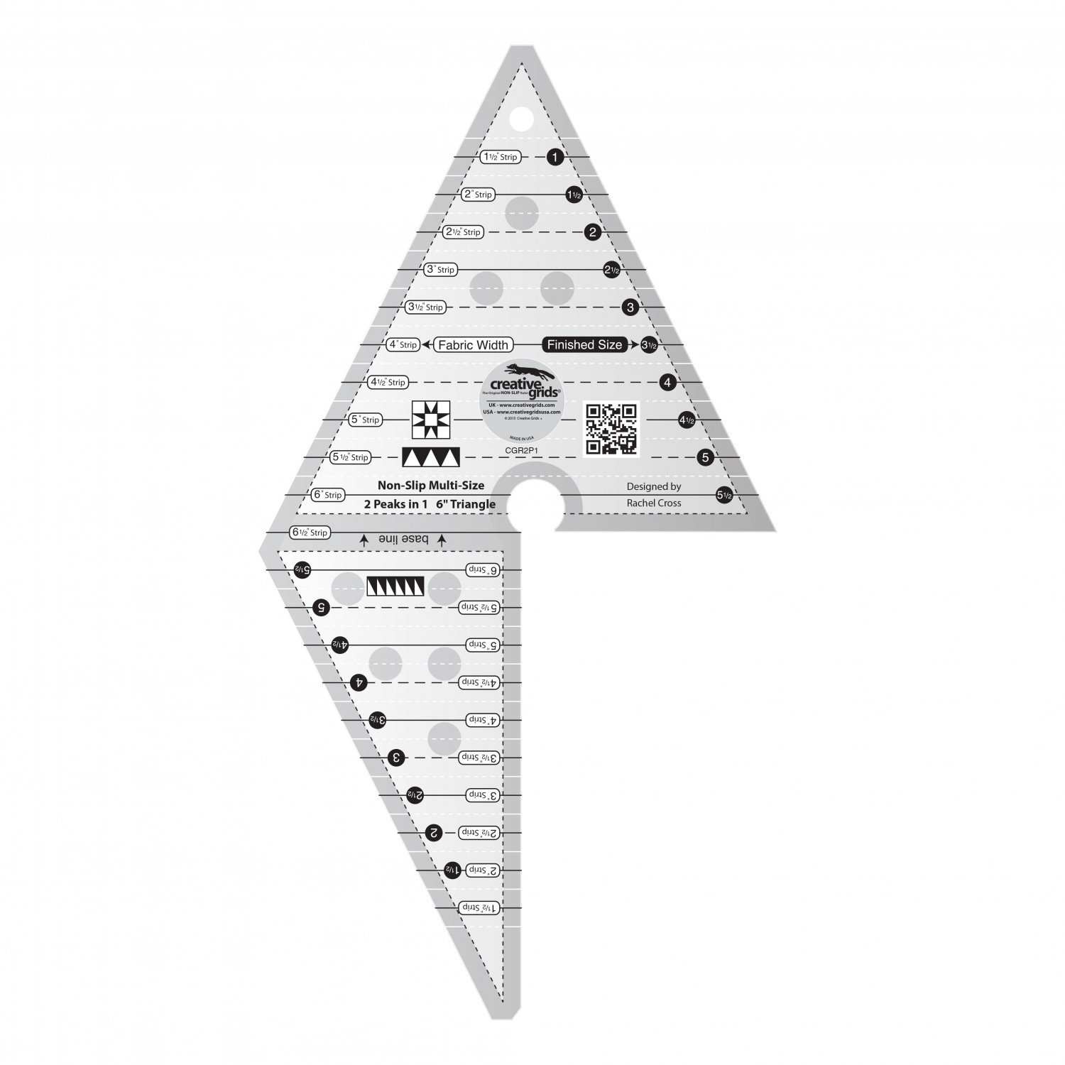 2 Peaks in 1 6 Triangle Non Slip Ruler by Creative Grids