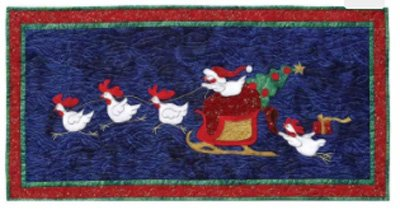 Chickens' Christmas Secret Banner Tablerunner Pattern by Needlesongs at KayeWood