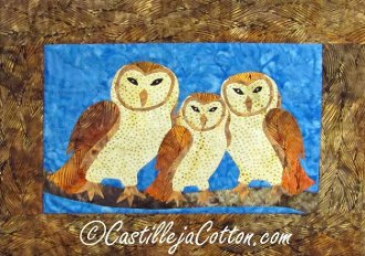 Barn Owl Family Mini Wall Quilt Pattern by Castilleja Cotton