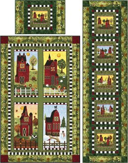 Skinny Barns Trio Wallhanging Tablerunner and Placemat Pattern by Castilleja Cotton