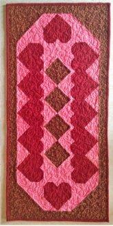 Hearts & Chocolate Diamonds Tablerunner Pattern by Cut Loose Press