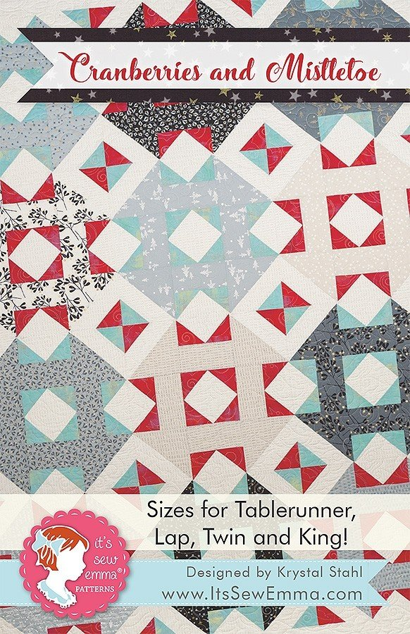 Cranberries and Mistletoe Quilt Pattern in 3 Sizes by It's Sew Emma